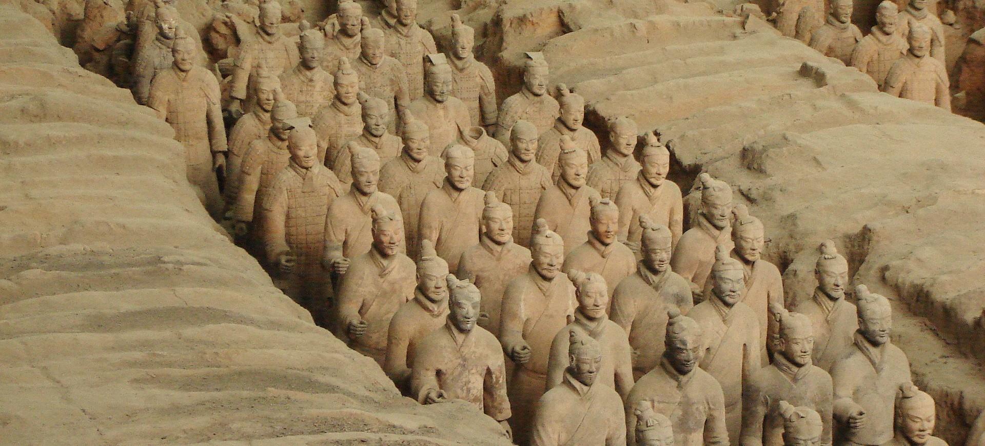 Armée de soldats en terre cuite à Xian en Chine