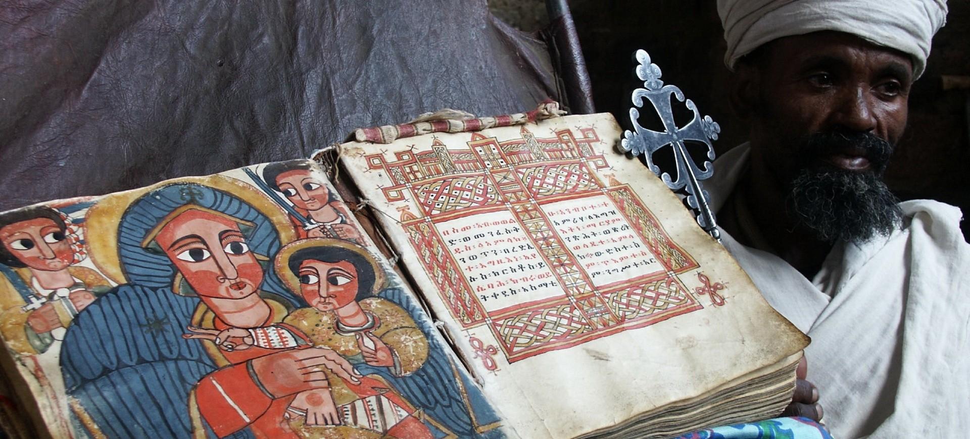 Scriptes sacrées dans l'église à Lalibela en Ethiopie