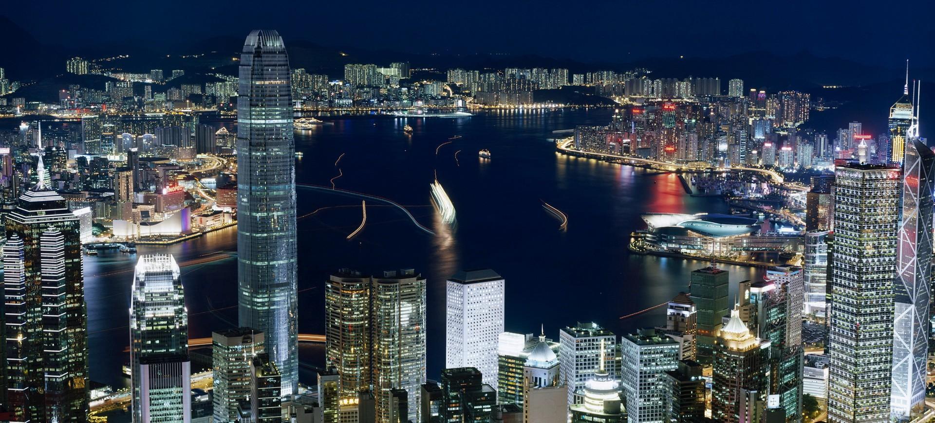 Baie et Skyline de Hong Kong by night