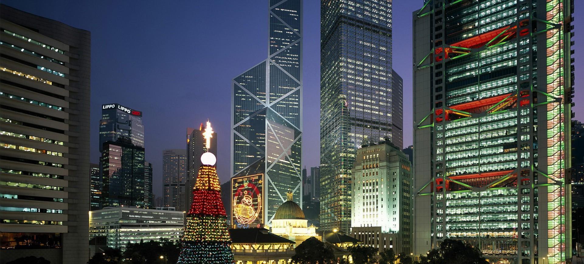 Gratte Ciel à Hong Kong by night