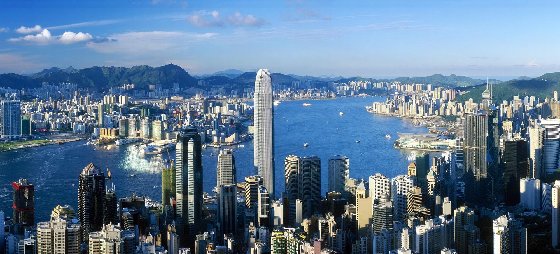 Vue panoramique depuis le Pic Victoria à Hong Kong