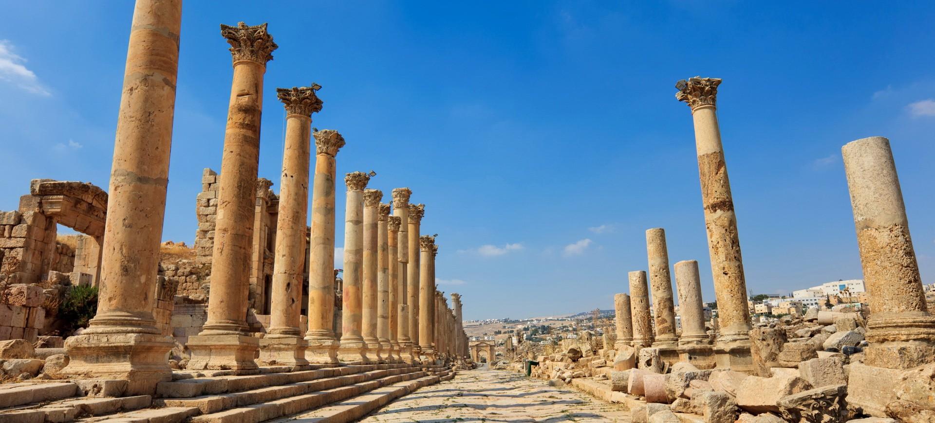 Rue des Colonnes dans le site antique de Jerash