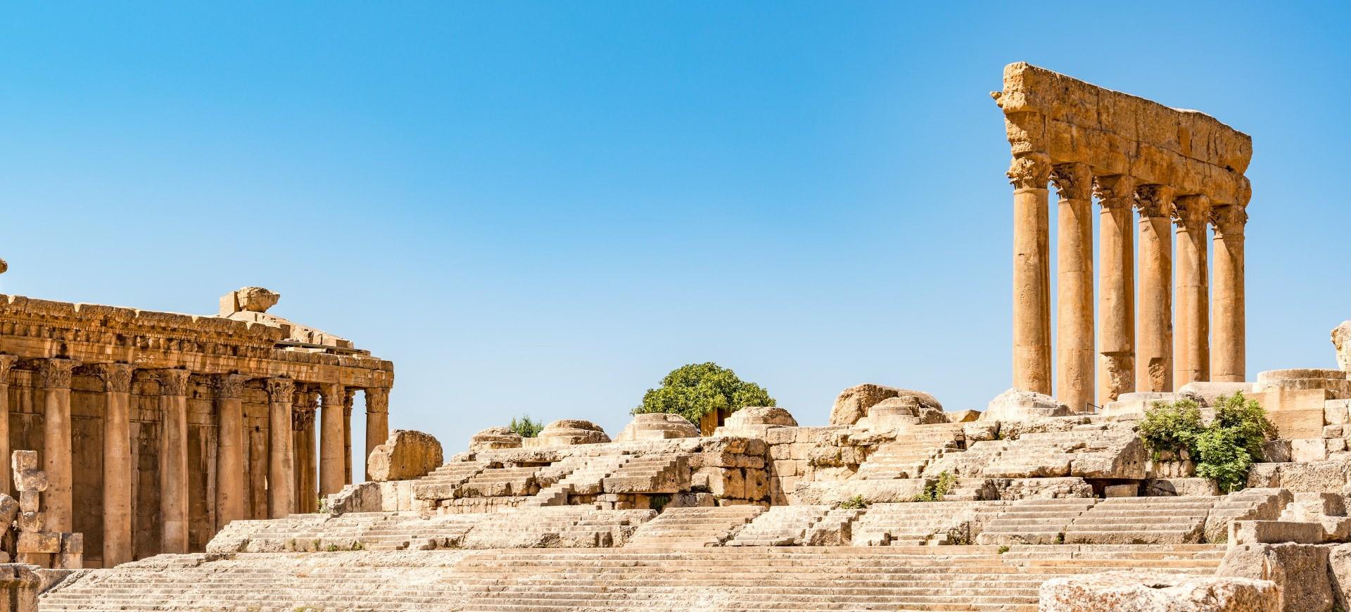 Temple de Baachus dans le site antique de Baalbeck au Liban