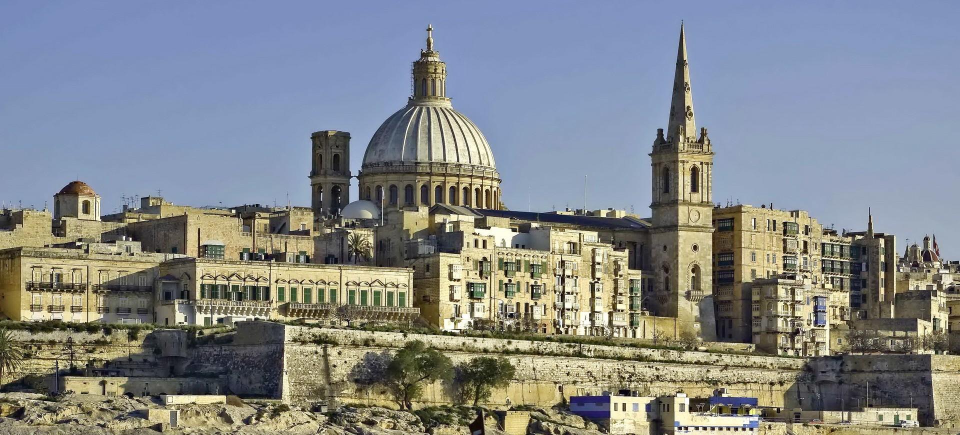 Malte La Vallette depuis le Port de Marsamxett