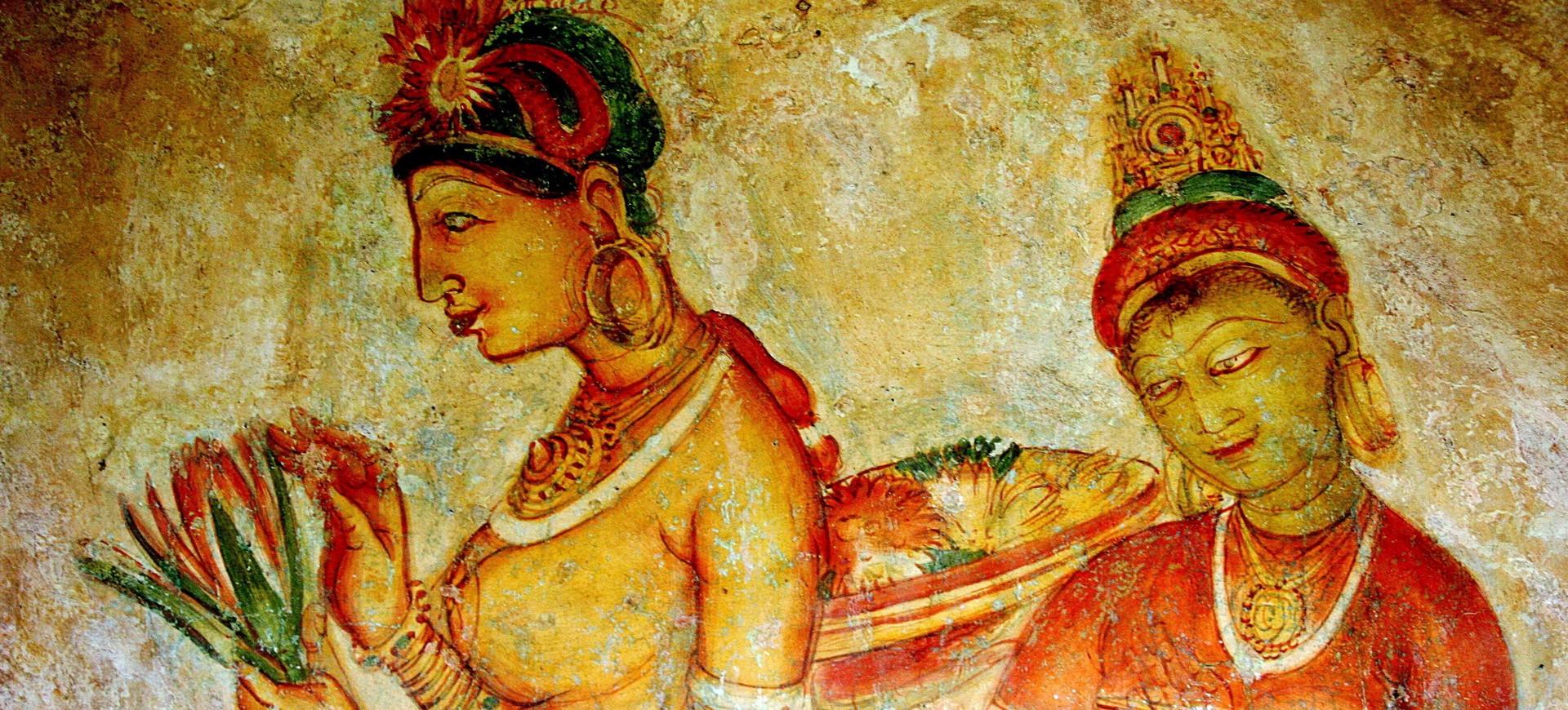 Sri Lanka Sigiriya Les fresques de Demoiselles de Sigiriya